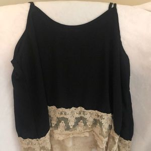 Black tank with lace trim bottom